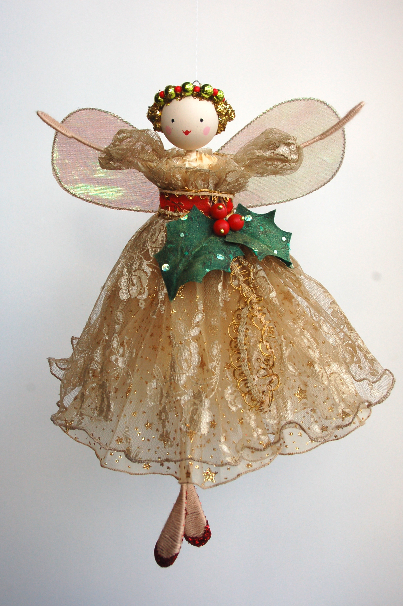 Large Vintage Holly Tree Top Fairy